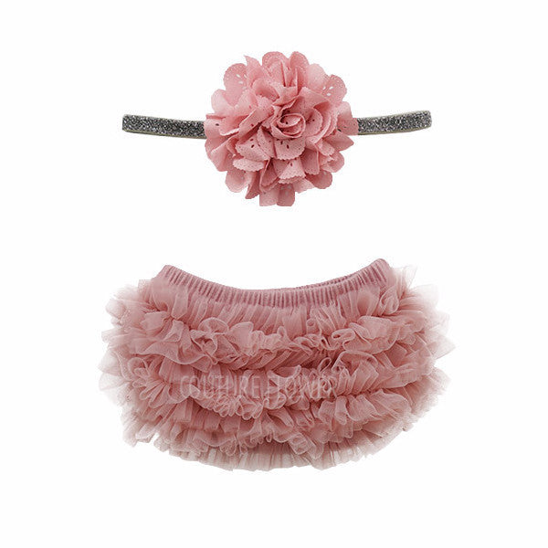 Mauve and Silver Glitter Ruffle Bottom Bloomer & Headband Set