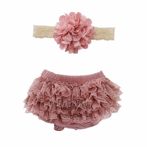 Mauve Lace Ruffle Bottom Bloomer & Headband Set