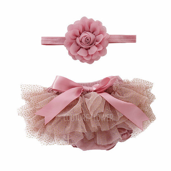 Mauve and Gold Glitter Tutu Bloomer & Headband Set