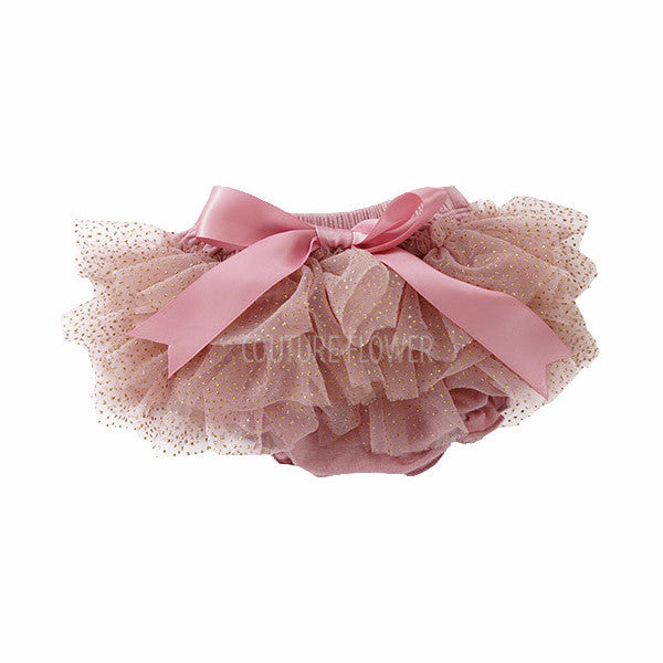 Mauve and Gold Glitter Ruffle Tutu Bloomer