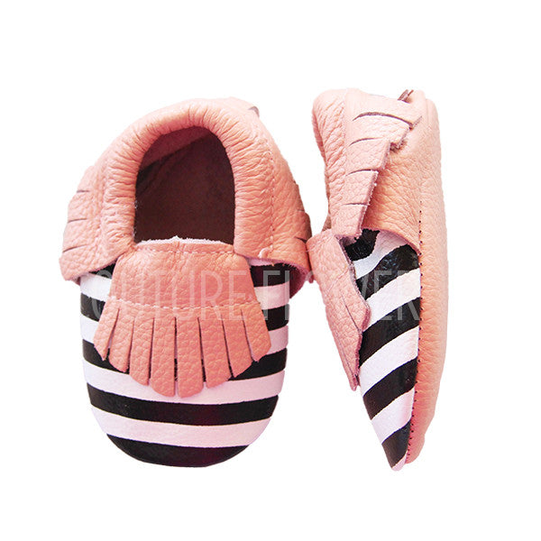 Pink, Black and White Stripe Baby Moccasins