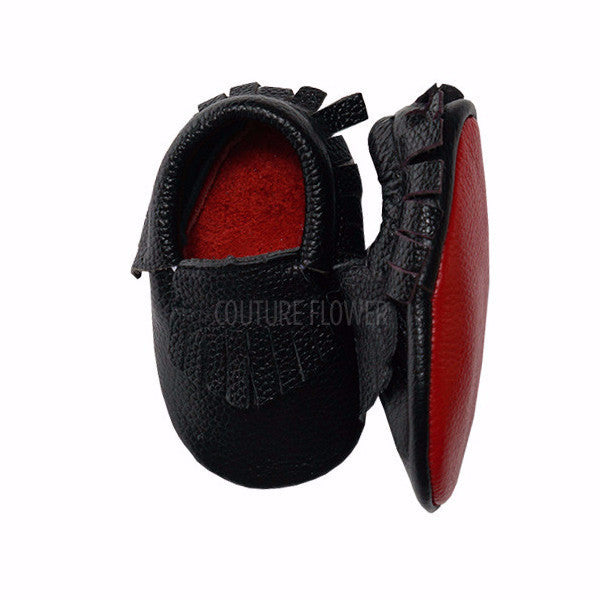 Black with Red Sole Baby Moccasins