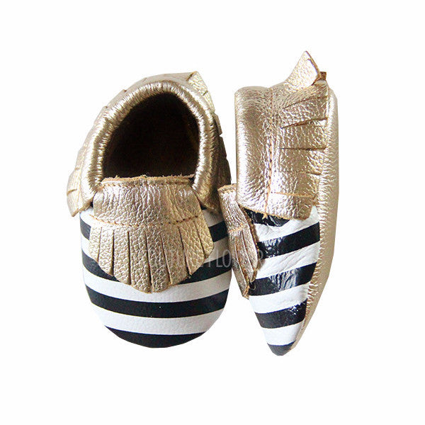 Gold, Black and White Stripe Baby Moccasins