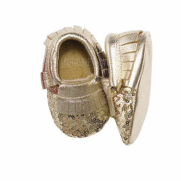 Gold Sequin Metallic Baby Moccasins