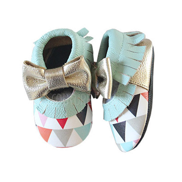 Triangle Print Leather Baby Moccasins