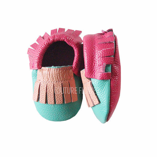 Pink, Hot Pink and Tropic Leather Baby Moccasins