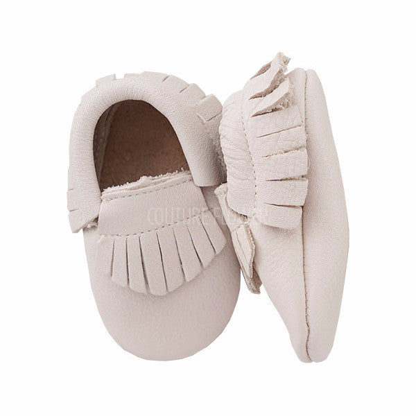 Off White Leather Baby Moccasins