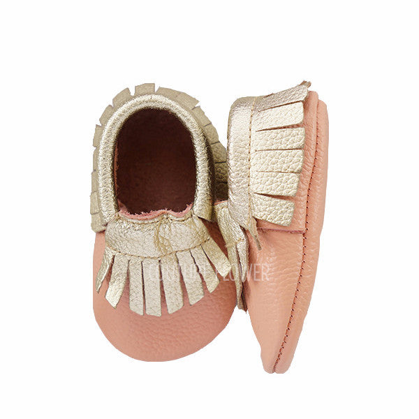 Pink and Gold Leather Baby Moccasins