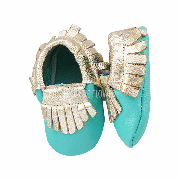 Tropic and Gold Leather Baby Moccasins