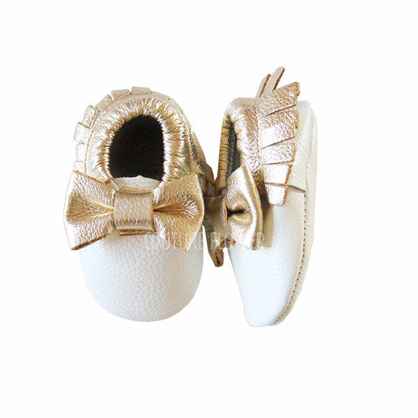 White and Gold Bow Leather Baby Moccasins