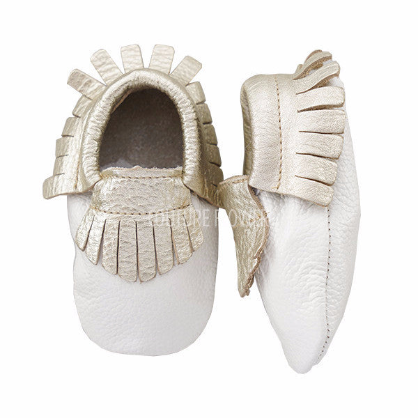 White and Gold Leather Baby Moccasins