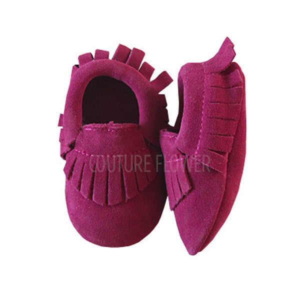 Raspberry Leather Baby Moccasins