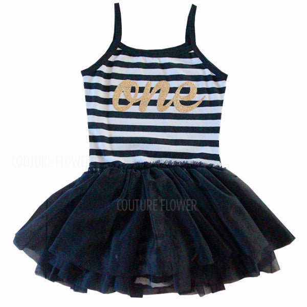 """one"" Black and White Stripe First Birthday Tutu Leotard"