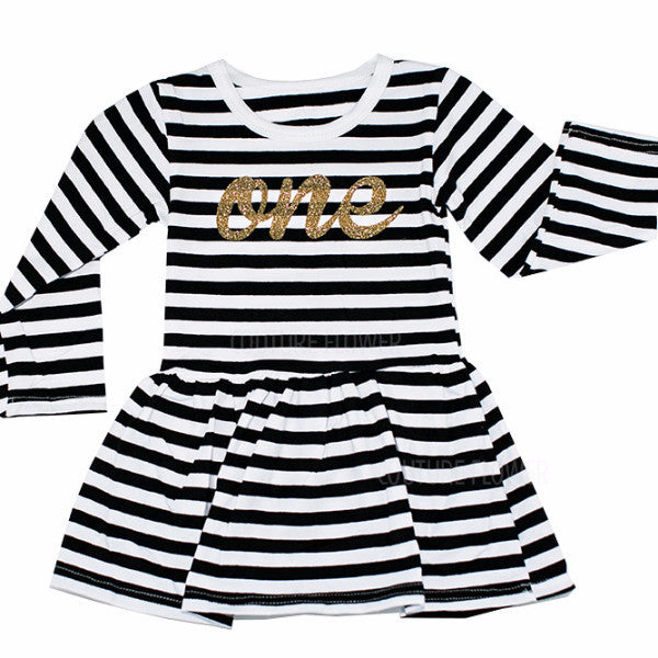 "Black and White Stripe ""one"" Dress"