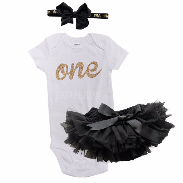 Black and Gold 1st Birthday Outfit