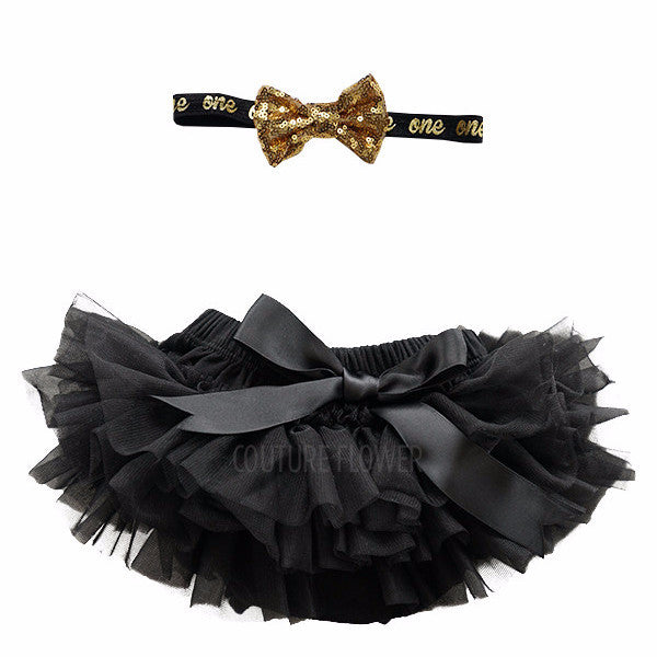 "Black and Gold ""one"" Tutu Bloomer & Headband Set"
