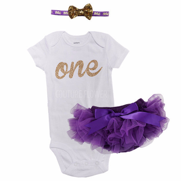 Purple and Gold 1st Birthday Outfit