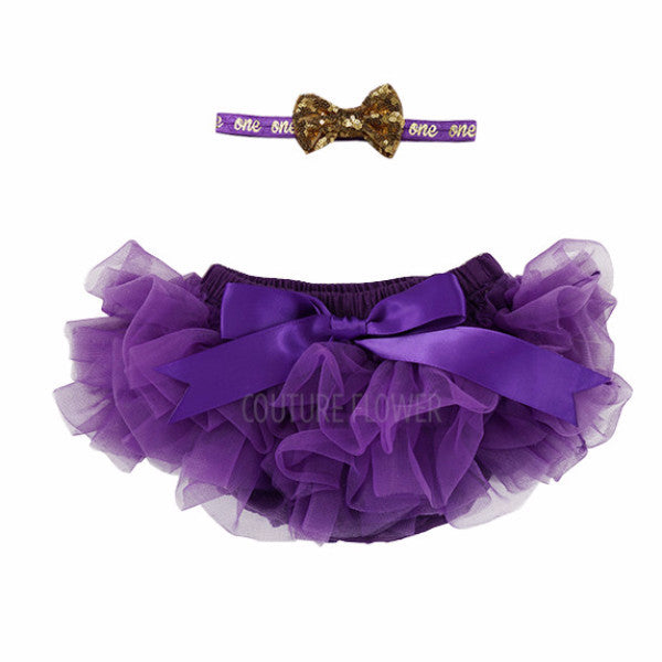 "Purple and Gold ""one"" Tutu Bloomer & Headband Set"