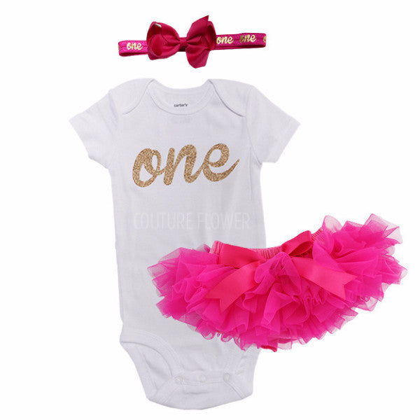 Hot Pink and Gold 1st Birthday Outfit