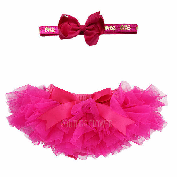 "Hot Pink and Gold ""one"" Tutu Bloomer & Headband Set"