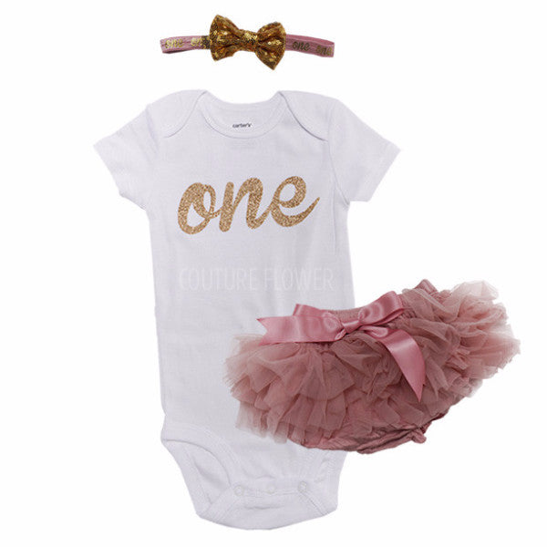 Mauve and Gold 1st Birthday Outfit