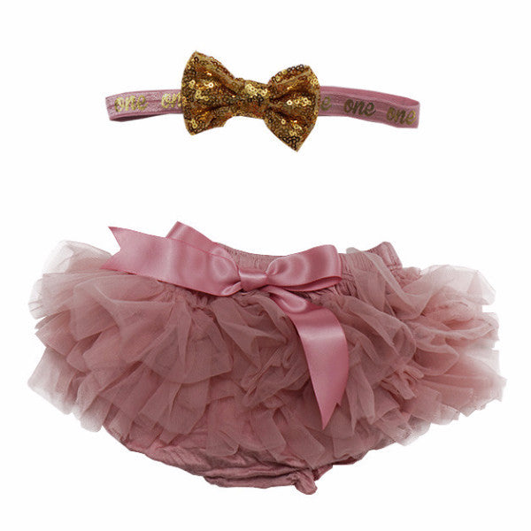 "Mauve and Gold ""one"" Tutu Bloomer & Headband Set"