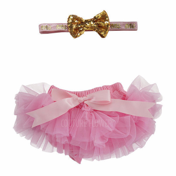 "Pink and Gold ""one"" Tutu Bloomer & Headband Set"