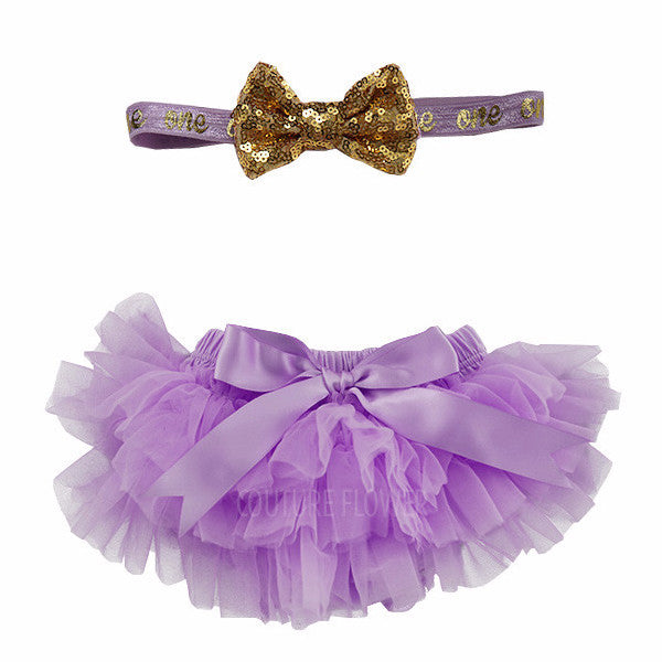 "Lavender and Gold ""one"" Tutu Bloomer & Headband Set"