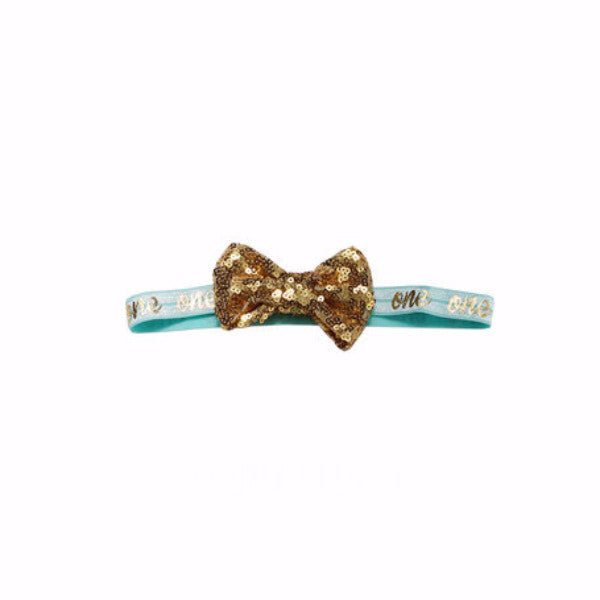 "Aqua and Gold ""one"" Headband"
