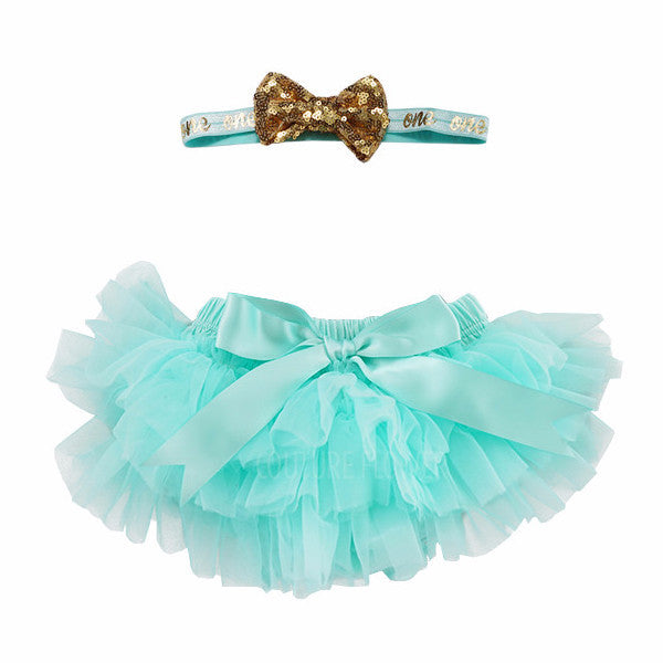 "Aqua and Gold ""one"" Tutu Bloomer & Headband Set"