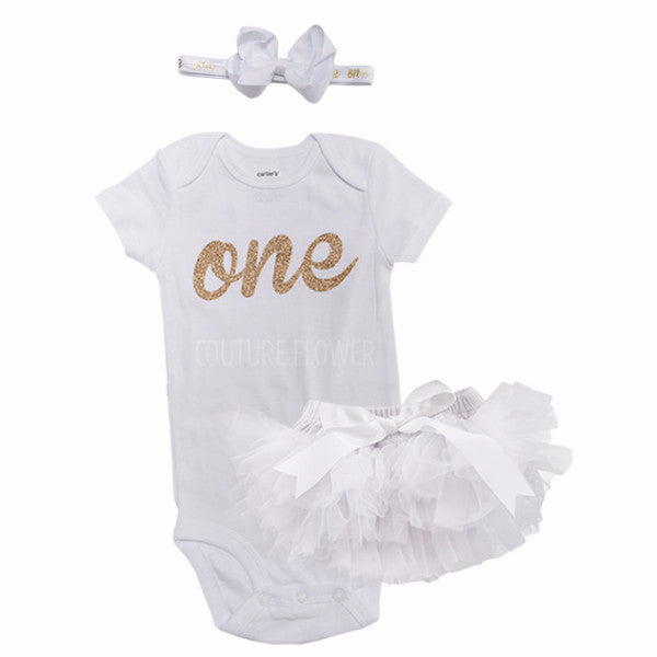 White and Gold 1st Birthday Outfit