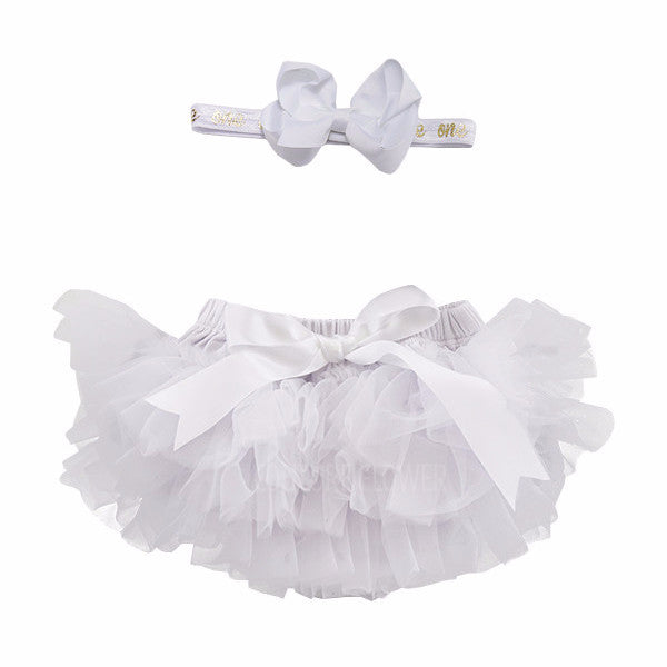 "White and Gold ""one"" Tutu Bloomer & Headband Set"