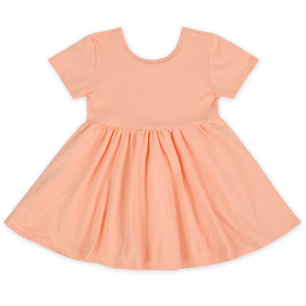 Short Sleeve Peach Twirl Dress