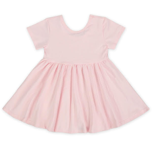Short Sleeve Petal Pink Twirl Dress