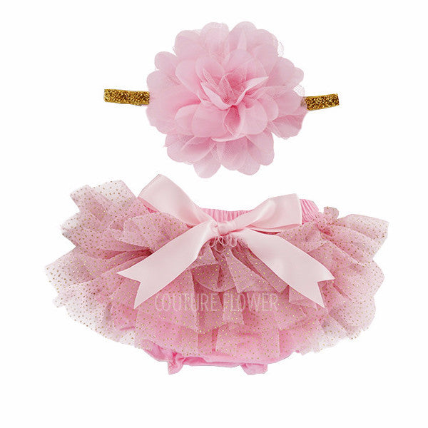 Pink and Gold Glitter Tutu Bloomer & Headband Set