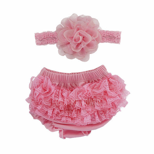 Pink Lace Ruffle Bottom Bloomer & Headband Set