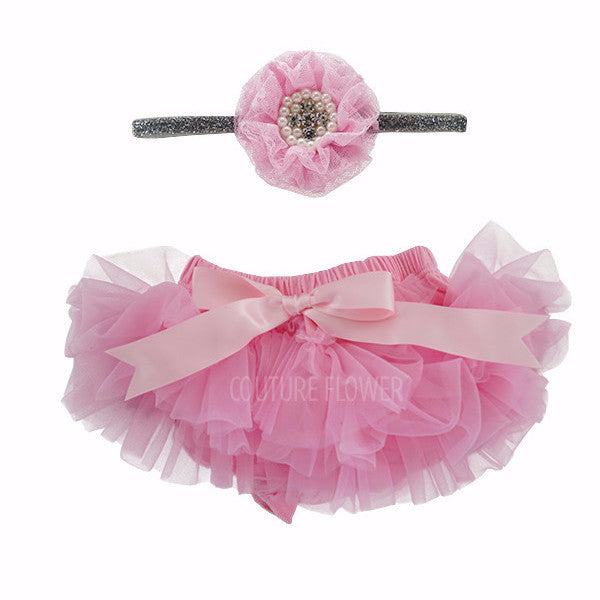 Pink and Silver Tutu Bloomer & Headband Set
