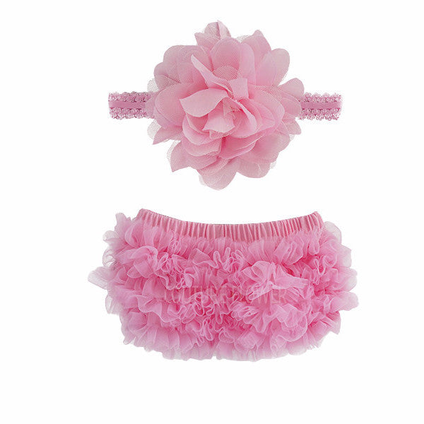 Pink Ruffle Bottom Bloomer & Headband Set