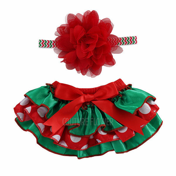 Christmas Satin Tutu Bloomer & Headband Set