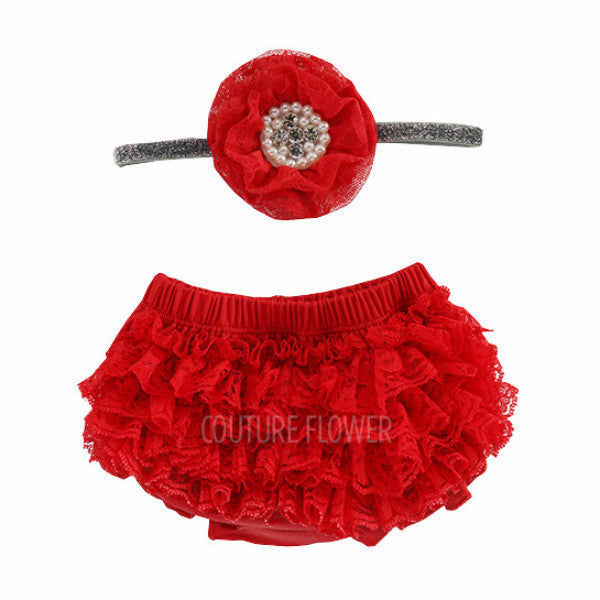 Red Lace Ruffle Bottom Bloomer & Headband Set