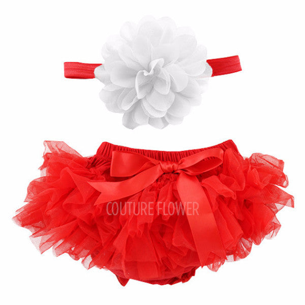 Red and White Tutu Bloomer & Headband Set