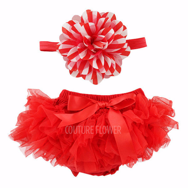 Red and White Stripe Tutu Bloomer & Headband Set