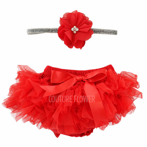Red and Silver Tutu Bloomer & Headband Set