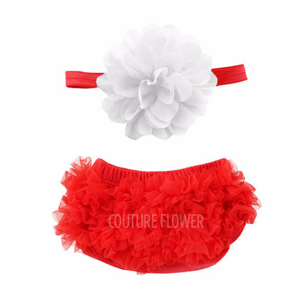 Red and White Ruffle Bottom Bloomer & Headband Set