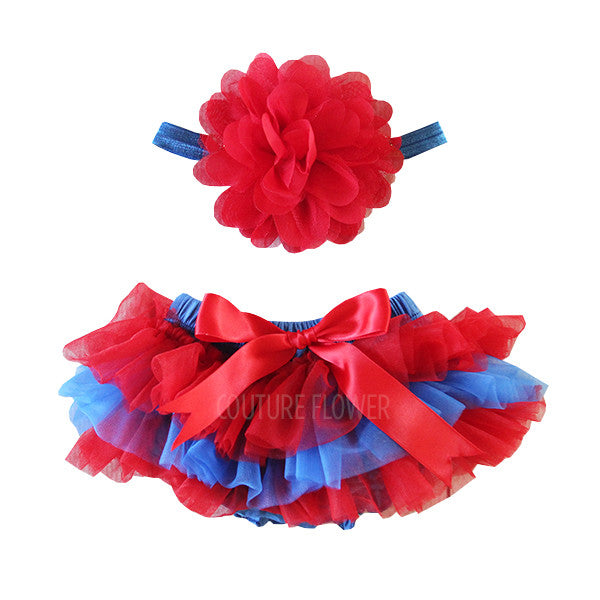 Team Colors Red and Blue Tutu Bloomer & Headband Set
