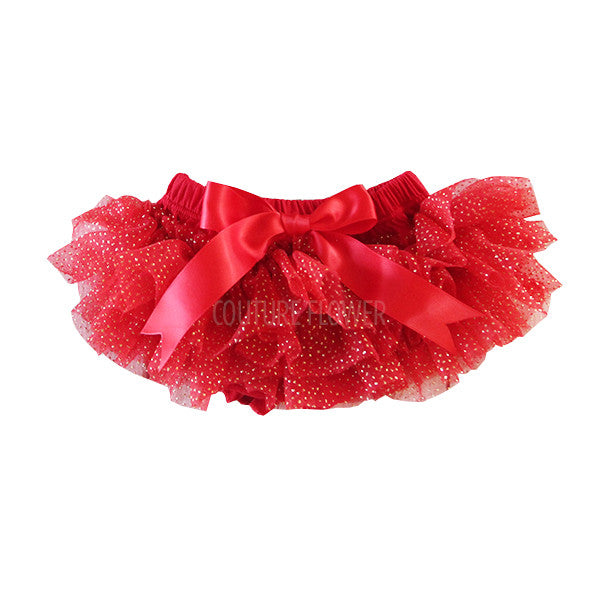 Red and Gold Glitter Ruffle Tutu Bloomer