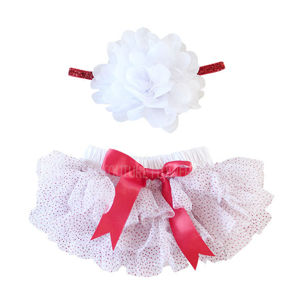 White and Red Glitter Tutu Bloomer & Headband Set