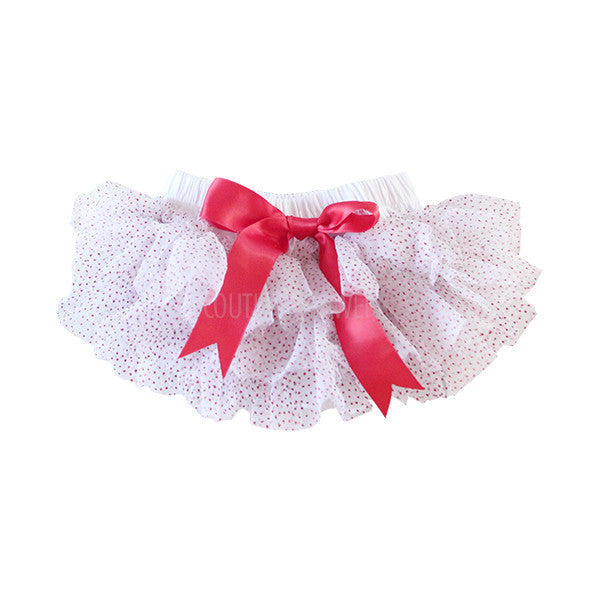 White and Red Glitter Ruffle Tutu Bloomer