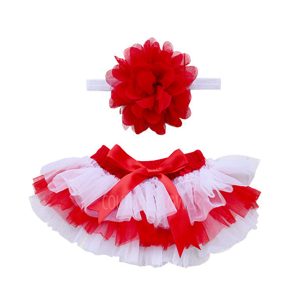 Team Colors Red and White Tutu Bloomer & Headband Set