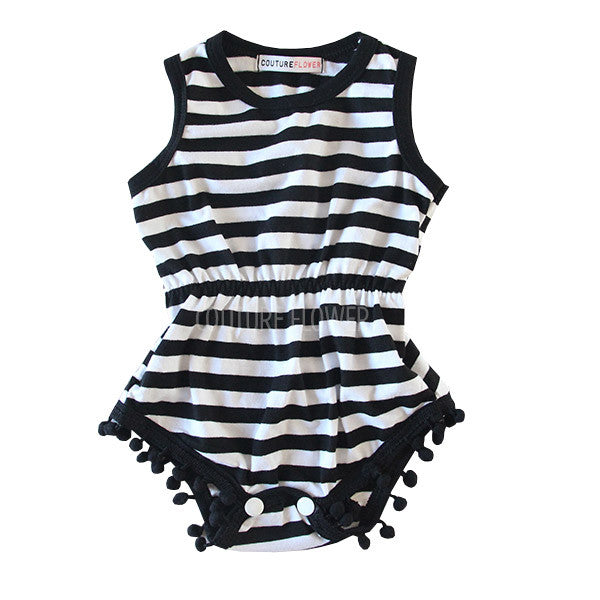 Black White Stripe Pom Pom Romper